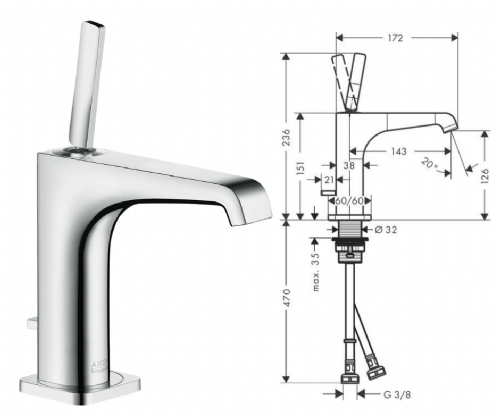 Hansgrohe Axor Citterio E Chrome Basin Mixer With Waste - Model Number 36100000
